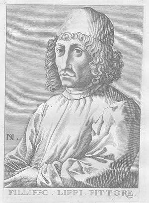 Filippino Lippi painter Firenze Portrait engraving acquaforte incisione