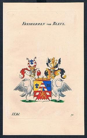 Freiherren von Bleul Wappen Kupferstich Genealogie Heraldik coat of arms