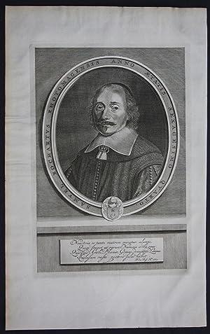 Samuel Bochart (1599-1667) Orientalist biblical scholar bible portrait engraving antique print