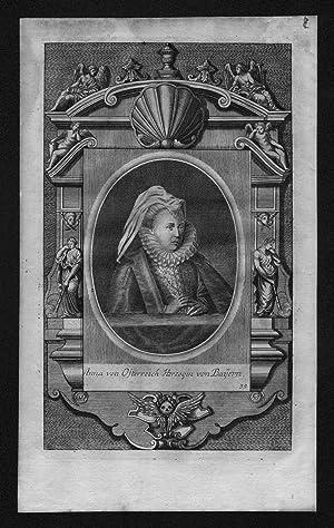 Anna von Österreich Herzogin Bayern engraving Kupferstich Portrait