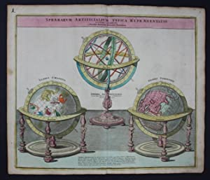 Globe Globes World Map engraving gravure Homann chart carte Globus