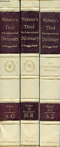 Seller image for WEBSTER'S THIRD NEW INTERNATIONAL DICTIONARY OF THE ENGLISH LANGUAGE, 3 VOLUMES, UNABRIDGED, WITH SEVEN LANGUAGE DICTIONARY for sale by Le-Livre