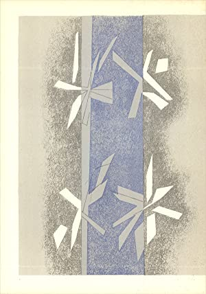 """ANDRE BEAUDIN Composition (Lg) 11.5"""" x 8.25"""" Lithograph 1964 Modernism Blue, Gray: Beaudin,..."""