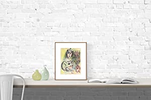 """MARC CHAGALL Clown with Flowers 12.5"""" x 9.5"""" Lithograph 1963 Modernism Multicolor: Chagall,..."""