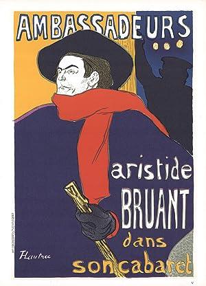 """HENRI DE TOULOUSE-LAUTREC Aristide Bruant - Ambassadeurs 14.5"""" x 10.5"""" Lithograph 1966 Art ..."""