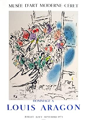 "MARC CHAGALL Floral Offering 26.5"" x 19.5"" Lithograph 1971 Modernism Multicolor: Chagall, ..."