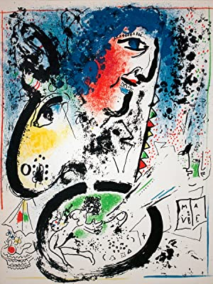 "MARC CHAGALL Self Portrait - Frontespiece 12.5"" x 9.5"" Lithograph 1960 Modernism Multicolor..."