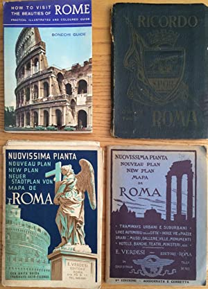 2 Verdesi Fold Out City Plans; Bonechi Guide to Rome; Hb Ricordo Di Roma Fold Out Tinted Photos