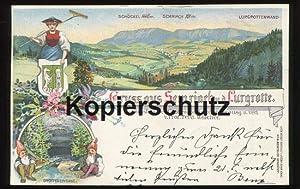Postkarte: Gruss aus Semriach u. d. Lurgrotte. Litho. Zugunsten des Grottenfonds phot., herausg. u....