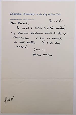 "Autographed Letter Signed on ""Columbia University"" stationery"
