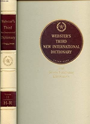 Seller image for WEBSTER'S THIRD NEW INTERNATIONAL DICTIONARY OF THE ENGLISH LANGUAGE UNABRIDGED, VOL. II, H-R for sale by Le-Livre