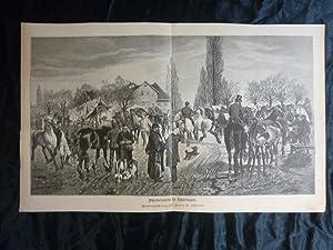 orig. Holzstich Pferdemarkt in Thüringen - Pferde