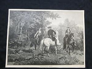 orig. Holzstich Sigmund L Allemand: Spazierritt - Reiten und Pferde