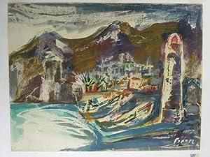 """Collioure(""""). Mediteraner Hafenort mit zwei Fischerkähnen und rechts ein Leuchtturm.: Frenel, A..."""