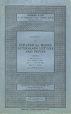Catalogue of Theatrical Books, Autograph Letters and Prints. 29th / 30th November 1973