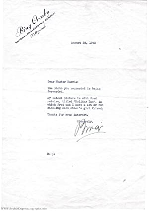 Typed letter signed ('Bing') to Master Harris (Bing, 1904-1977, American Singer & Actor)