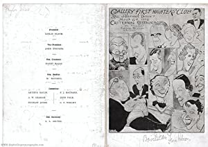 "Menu card for the ""Gallery First Nighter's Club"" signed by the above, (Paul, 1898-1976, American ..."
