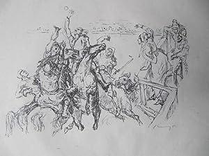 Bild des Verkäufers für Original-Lithographie. Motiv: Reiter fangen einen Ball auf. Ursprünglich als Illustration veröffentlicht in Grimms' Eisenhans. zum Verkauf von Antiquariat Schröter -Uta-Janine Störmer