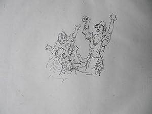 Bild des Verkäufers für Original-Lithographie. Motiv: Kinder greifen nach hochgehaltenen Bällen (?). Ursprünglich als Illustration veröffentlicht in Grimms' Eisenhans. zum Verkauf von Antiquariat Schröter -Uta-Janine Störmer