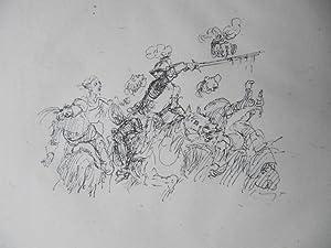 Bild des Verkäufers für Original-Lithographie. Motiv: Kriegerischer Reiter schlägt Kopf ab. Ursprünglich als Illustration veröffentlicht in Grimms' Eisenhans. zum Verkauf von Antiquariat Schröter -Uta-Janine Störmer