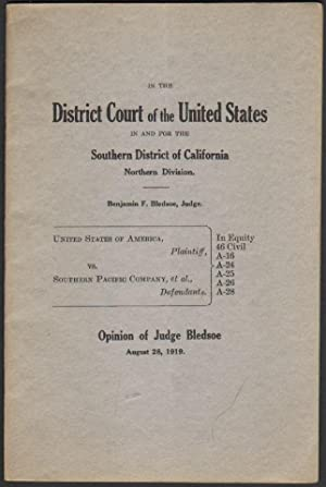 United States of America, Plaintiff, Vs. Southern Pacific Company, et al., Defendants, Opinion of...