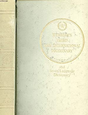 Seller image for WEBSTER'S THIRD NEW INTERNATIONAL DICTIONARY OF THE ENGLISH LANGUAGE (UNABRIDGED), VOLUME I, A-G for sale by Le-Livre