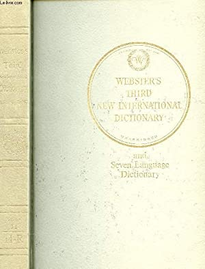 Seller image for WEBSTER'S THIRD NEW INTERNATIONAL DICTIONARY OF THE ENGLISH LANGUAGE (UNABRIDGED), VOLUME II, H-R for sale by Le-Livre