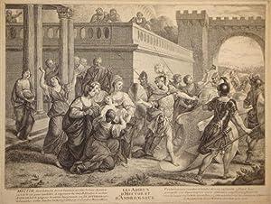 Les adieux d'Hector et d'Andromaque, after Bon Boullogne.: Moyreau, Jean (Orléans 1691-...