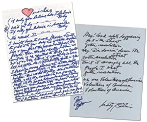"Handwritten Lyrics for ""Volunteers"" and Jefferson Starship's ""Miracles"""