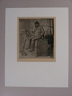 Tippelbruder mit seinem Hund auf einer Kaimauer.: Wilke, Erich: