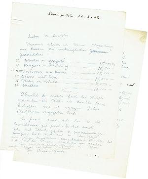 2 Briefdurchschläge von Munchs Briefen an Wilhelm: Munch, Edvard, norw.