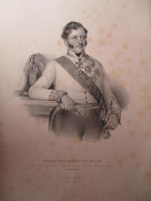 Porträt. Kniestück in Uniform. Lithographie von Kriehuber,: Baillet de Latour,
