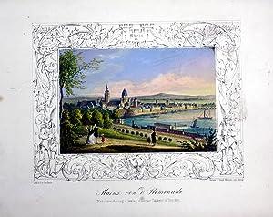 Mainz Gesamtansicht Lithographie handkoloriert: Gersheim: