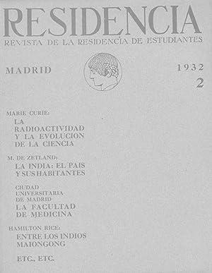 RESIDENCIA. Revista de la Residencia de Estudiantes. nº 2 de 1932.