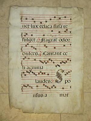 """Manuscript Antiphonal Leaf on Vellum (22"""" x: Illuminated Manuscript"""