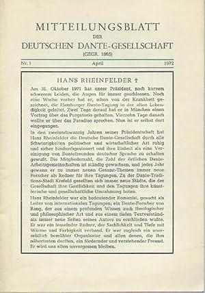 Mitteilungsblatt der Deutschen Dante-Gesellschaft. Nr. 1, April 1972. Inhalt: Nachruf auf Hans ...