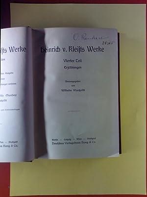 Heinrich v. Kleists Werke in sechs Teilen. VIERTER TEIL: Erzählungen / FÜNFTER TEIL: Vermischte ...