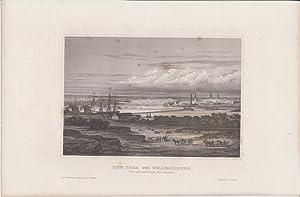 Orig Stahlstich USA - New York und Williamsburg (Von der Navy Yard aus gesehen).