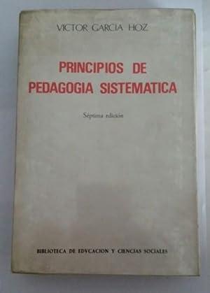 Principios de pedagogia sistematica: Victor Garcia Hoz