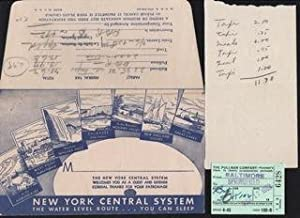 New York Central System Water Level Route.You can Sleep. Envelope and Pullman Co. Passenger check...