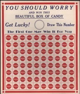 Vintage Punch Cards for Candy Contest. You Should Worry and Win This Beautiful Box of Candy. Get ...