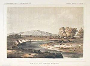 Milk River and Panther Mountain. [Vintage Pacific Railroad Survey Lithograph]