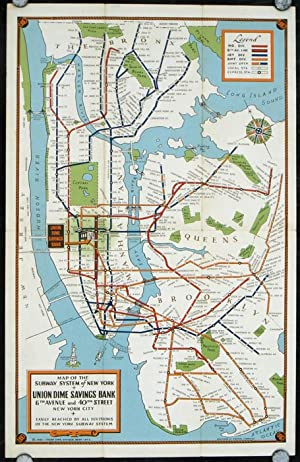 New York Subways. Map title: Map of the Subway System of New York.