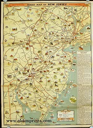 Road Map & Historical Guide. New Jersey. Map titles: Historical Pictorial Sunoco Map of New Jerse...