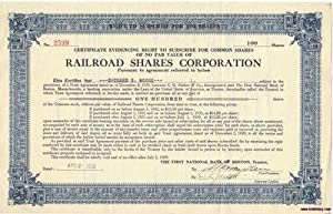 A Vintage Railroad Stock Certificate Issued to: The Railroad Shares