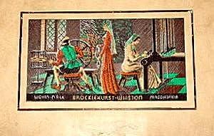 Silk Weavers at Looms. Brocklehurst Embroidered Silk.1947.: Brocklehurst-Whiston Limited.