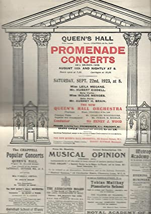 Queen's Hall, London. Promenade Concerts Saturday, September 22nd, 1923. Programme