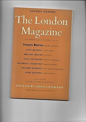 London Magazine. November 1960. AUTUMN NUMBER: John Lehmann: Editor