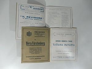 Due programmi del Teatro Odeon di Milano compagnia Tatiana Pavlova: Il revisore di Gogol e Il ...