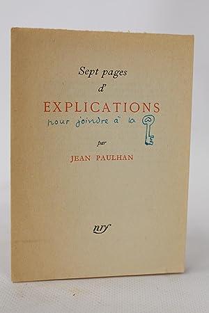 Sept pages d'explication: PAULHAN Jean